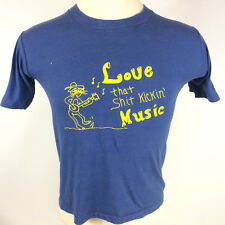 Rare Vintage 60s 70s Hillbilly Banjo Music Moonshine Guitar T Shirt Distressed
