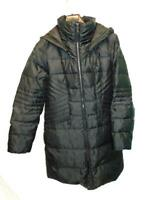 1 Madison M Black Down Coat Long Expedition Parka Zip Hood Quilted Flattering Md