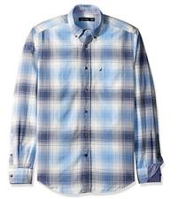 Nautica Men's Long Sleeve Plaid Oxford Button Down Shirt, Della Robbia Blue, XXL