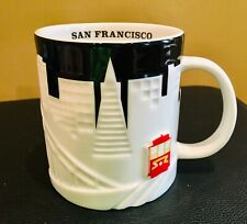 Starbucks San Francisco City Relief Coffee Mug Black White Cable Car 18 oz. Mint