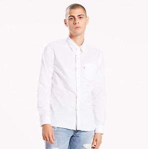 Mens Levis Casual Cotton White Long Sleeve Shirt L