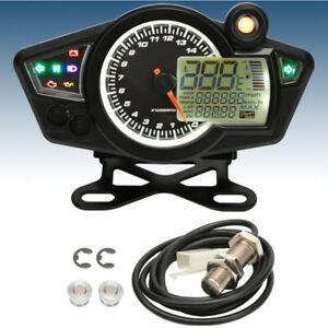 Motorcycle LCD Digital Adjustable Speed Odometer Speedometer 199km/h RPM 15000