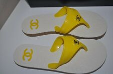 NIB CHANEL PVC Rubber Thong Flip Flop Sandals Shoes CC Logo YELLOW 37 - 7 ITALY