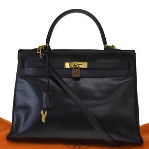 AUTHE HERMES KELLY 35 2WAY SHOULDER HAND BAG BOX CALF LEATHER BLACK 827LB034