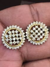 Pave 2.18 Cts Round Brilliant Cut Diamonds Stud Earrings In Fine 14K Yellow Gold