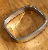 Vintage MEXICO STERLING Silver 8-Sided Flat Bangle BRACELET Hinged Heavy 50.2 Gr