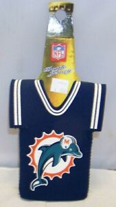 NFL MIAMI DOLPHINS BOTTLE JERSEY SUIT COOLIE KEEPS BEER BOTLE ICE COLD NIP