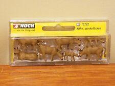 Noch H0 15722 Dark Brown Cows - Miniature Diorama Model Animal Painted Figures