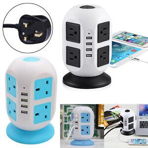 8 Port Main Power Portable 2.1A Fast Socket Tower Lead 3M Extention 4 USB UKPlug