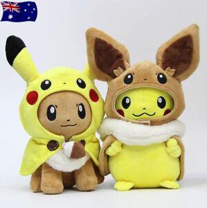 "Pokemon 12 "" Pikachu Eevee Cosplay Plush Doll Teddy Stuffed Soft Toy Kids Gift"