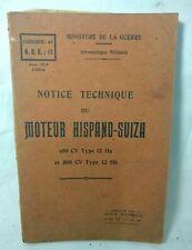 technical notice Avion Airplane MOTEUR HISPANO SUIZA Original French book 1927