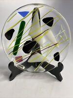 Vintage Handblown Glass Shallow Bowl / Plate Dicro Design