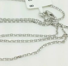 """14k Solid White Gold High Polish Cable Link Pendant Necklace Chain 24"""" 1.5mm"""