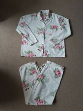 Hush Woman White Floral Brushed Cotton Pyjama Set Size S/M