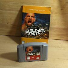 MAYHEM WITH BOOK MANUAL N64 Nintendo 64 System Video Game Cartridge