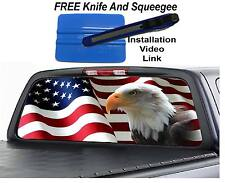 AMERICAN FLAG EAGLE Rear Window Graphic Decal Truck suv
