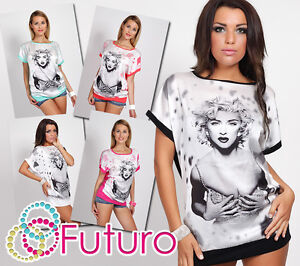 Exclusive T-Shirt Marylin Monroe Motive Batwing Sleeves Crew Neck Tunic FC2864