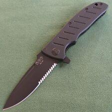 Enlan Black half-serrated Blade G10 Handle Liner Lock Folding Knife EL-01BA