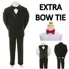 Baby Toddler Boy Black Formal Wedding Party Suit Tuxedo + Red Bow Tie sz S-4T