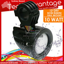 10W BLACK BOAT ROCKET LAUNCHER RAIL BIMINI MOUNT WAKE BOARD LED DECK FLOOD LIGHT