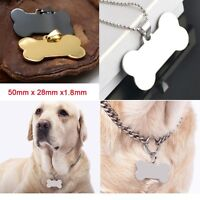 Engraved Bone Shape Steel Stainless Pet Dog Tag ID Name Cat