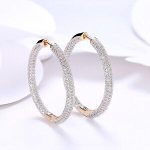 18K Gold Plated Hoop Huggie Earrings Made With Swarovski Elements