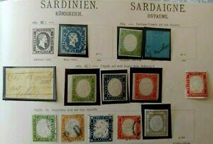 1852-1853 COLLECTION SARDINIA SARDINIEN VF USED VF MLH ITALY ITALIA BKCL $0.99