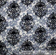 BonEful Fabric Cotton Quilt White Black B&W Skull Skeleton Damask Flower L SCRAP