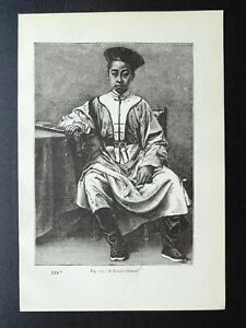 China A YOUNG CHINESE BOY Original Victorian Print by Figuier c1893