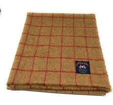 Pure Wool Tweed Blanket/Bedspread/Throw Brown and Red Check