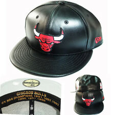 New Era NBA Chicago Bulls 5950 Black Fitted Hat Faux Leather Red Front Logo Cap
