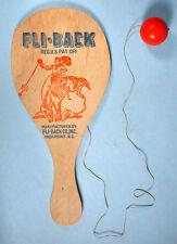 1950s FLI-BACK Cowboy Paddle Toy Novelty Wood with original Elastic & Ball