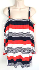 Cupio Women Top Relaxed Tunic Tiered Striped White Blue Red $58 Size Large a