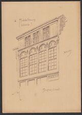 Middelbourg Armand HEINS Ancienne planche avec croquis de facade