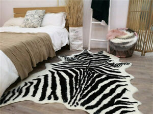 150*200cm Zebra Cowhide Area Rug Tricolor Cowskin Faux Cow Hide Leather Carpet