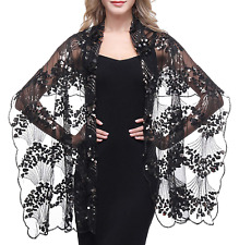 ArtiDeco Sequin Beaded Art Deco Evening Cape Women's 1920s Shawl Wedding Party