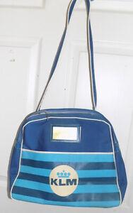 Vintage KLM Airlines Blue Travel Bag Carry On Canvas