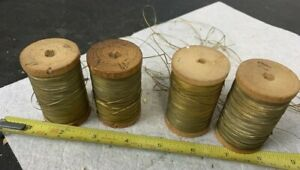 Antique Vintage Victorian Gold Golden Metal Thread Wooden Spools Sewing