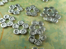 50 Silver Plated Flat Flower Beads Spacers Findings 26180