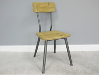 Industrial Style Retro Urban Dining or Desk Office Chair | Metal & Natural Wood