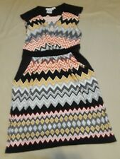 Faux Wrap Stretch Jersey Dress Chevron Print Sleeveless Maggie London Size 10 M