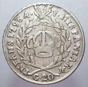 20 GRANA 1796 NAPOLI QBB/BB - FERDINANDO II - PERIZIA NIP GRIMOLDI