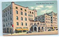 *Santa Rita Hotel Tucson Arizona Old Classic Vintage Cars Linen Postcard B78