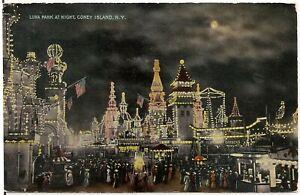 View of Luna Park at Night, Coney Island NY Postcard Amusement Park