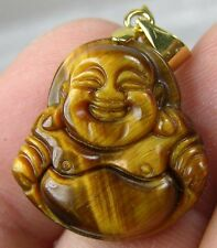 #16 20.50ct Tiger Eye Tigereye Hand Carved Smiling Happy Buddha Pendant 4.10g