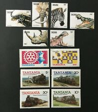 A NICE LOT OF 12 MNH STAMPS FROM TANZANIA. TRAINS, CHESS, ANIMALS, ZEBRA, HIPPO