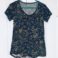 Artsy Knit Top Short Sleeve Purple Teal Paisley Bohemian Medium