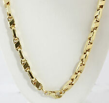 "64.80 gm 14K Yellow Gold Men's Hollow Italian Bullet Chain Necklace 24"" 7.5 mm"