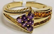 CERTIFIED 14K Gold Exotic Topaz and Amethyst Gemstone Ring,  FREE SIZING