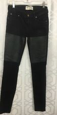 Textile Jeans Black Denim With  Leather Thigh Size 26